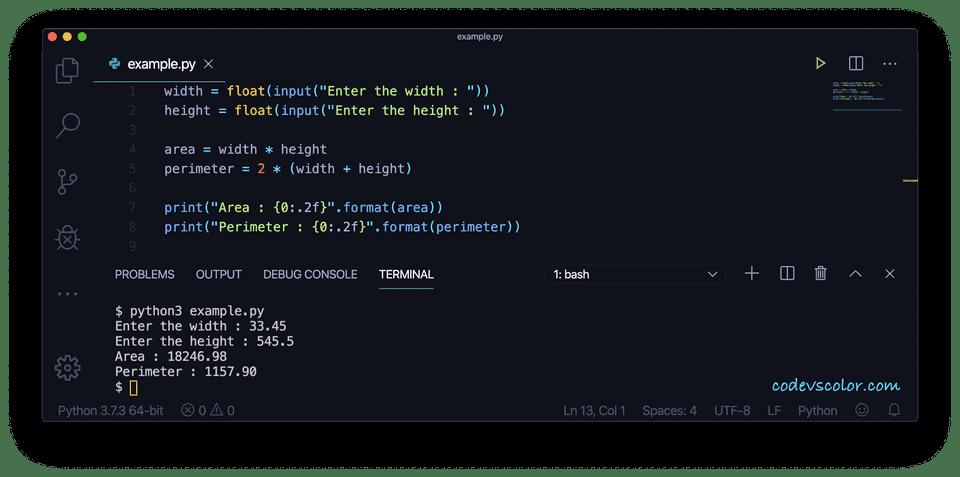 Python find area perimeter