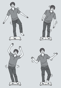 A cartoon of a guy on various weird poses on a Wii Balance Board