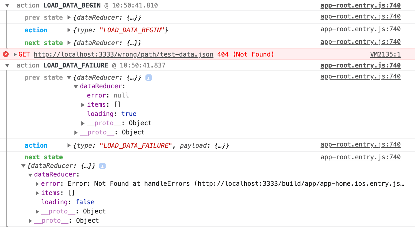 redux-logger showing unsuccessful data load
