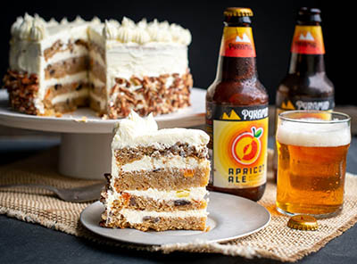 Homemade carrot cake with fruity Apricot Ale beer
