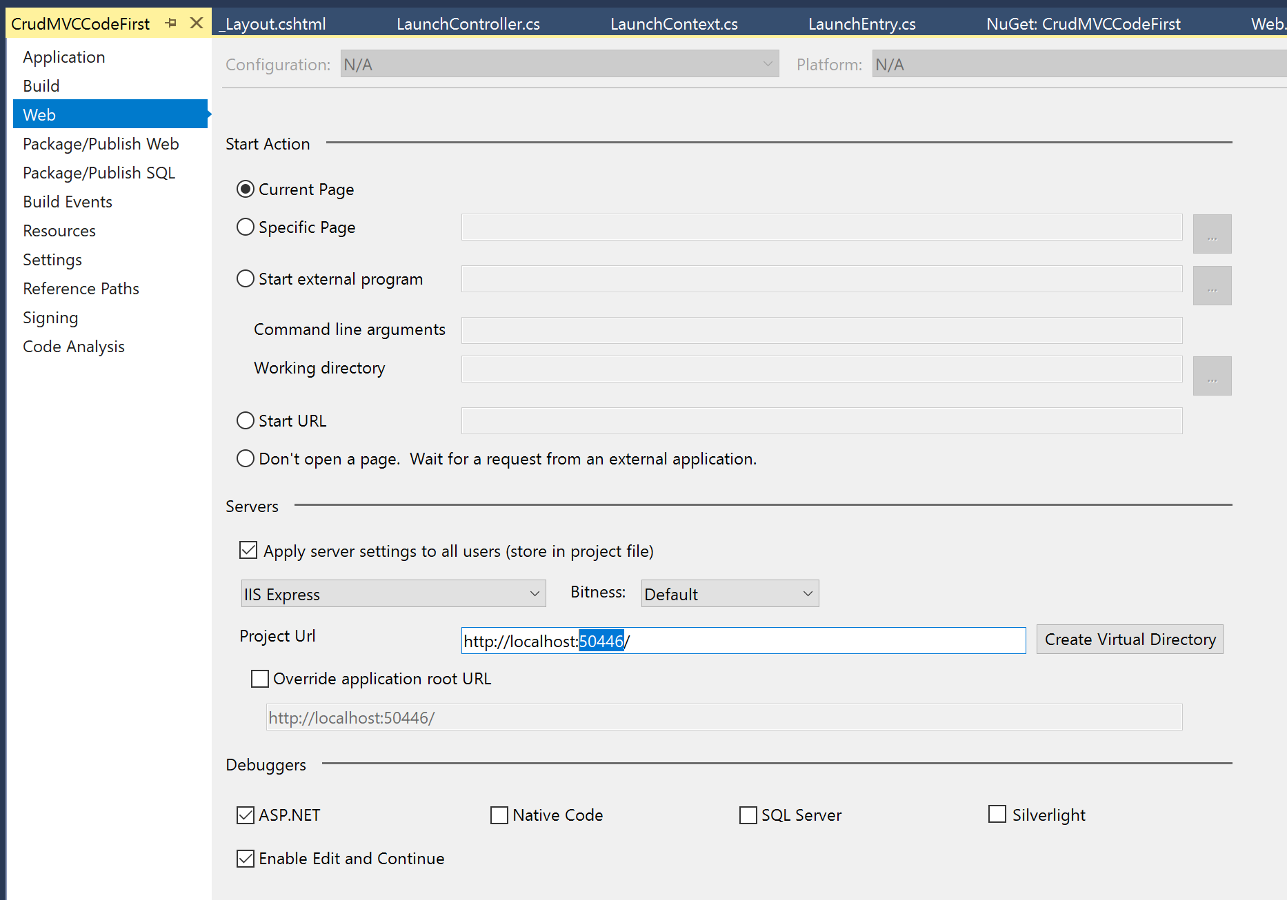 Visual Studio project settings URL