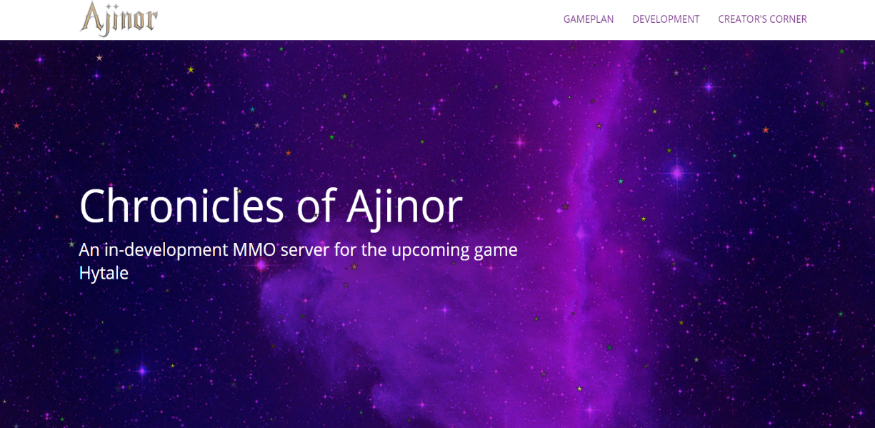 A screenshot of Chronicles of Ajinor's website