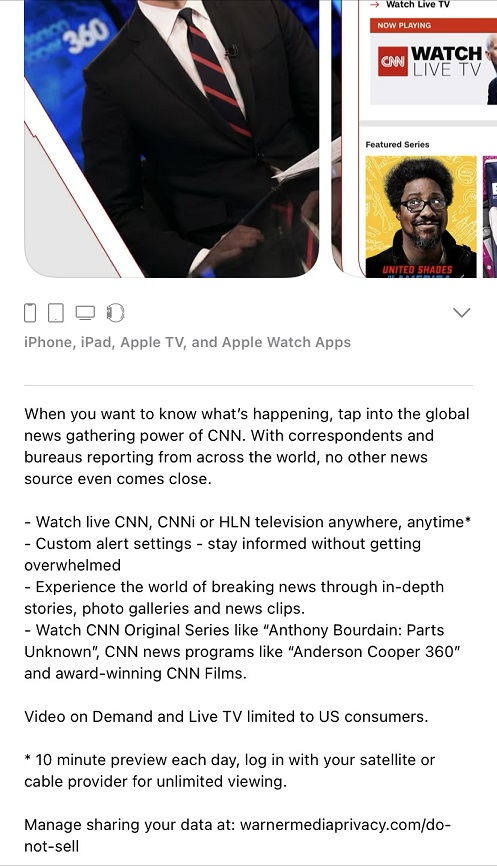 CNN mobile app download for iPhone.