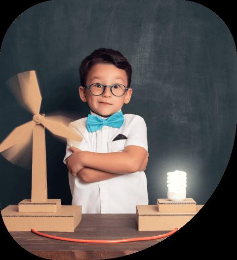 School kid learning sustainability