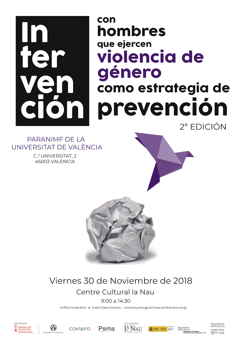 Imagen Jornada: Intervención con hombres que ejercen violencia de género como estrategia de prevención (2ª Edición)