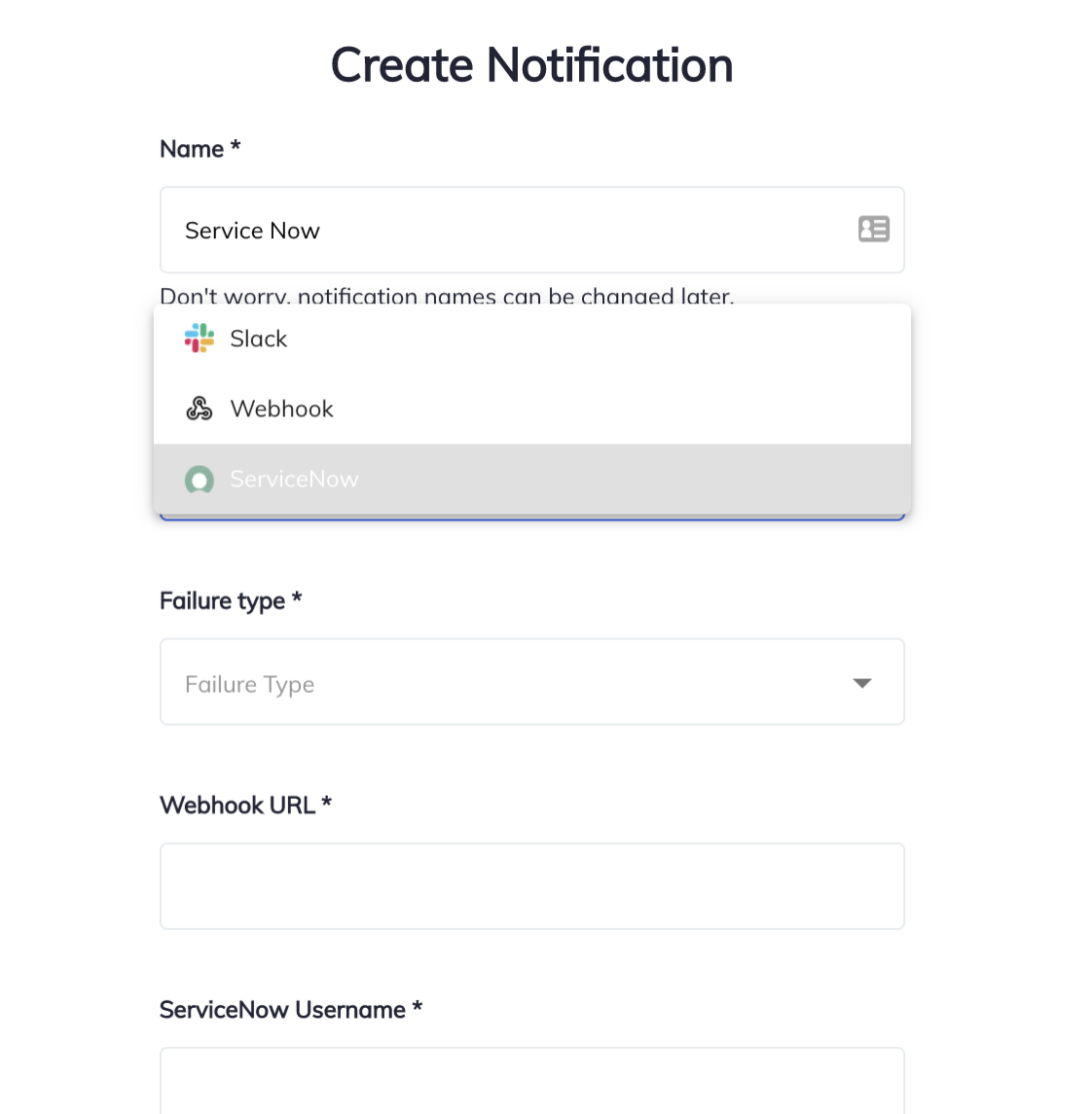 Screenshot of integration with Slack, ServiceNow and Webhooks