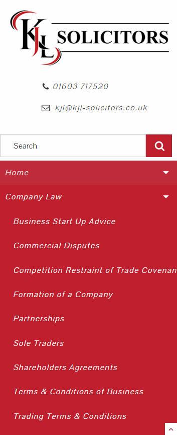 KJL Solicitors website frontpage on a mobile