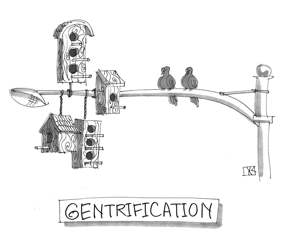(Birds pirched on a street lamp, alongside many birdhouses. Caption reads, 'Gentrification.')