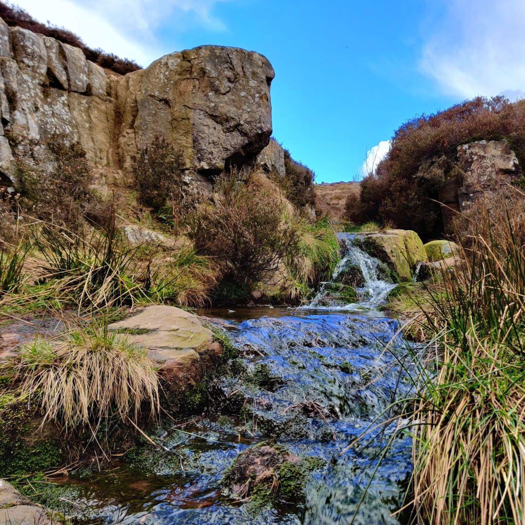 Ilkley Moor low shot of stream