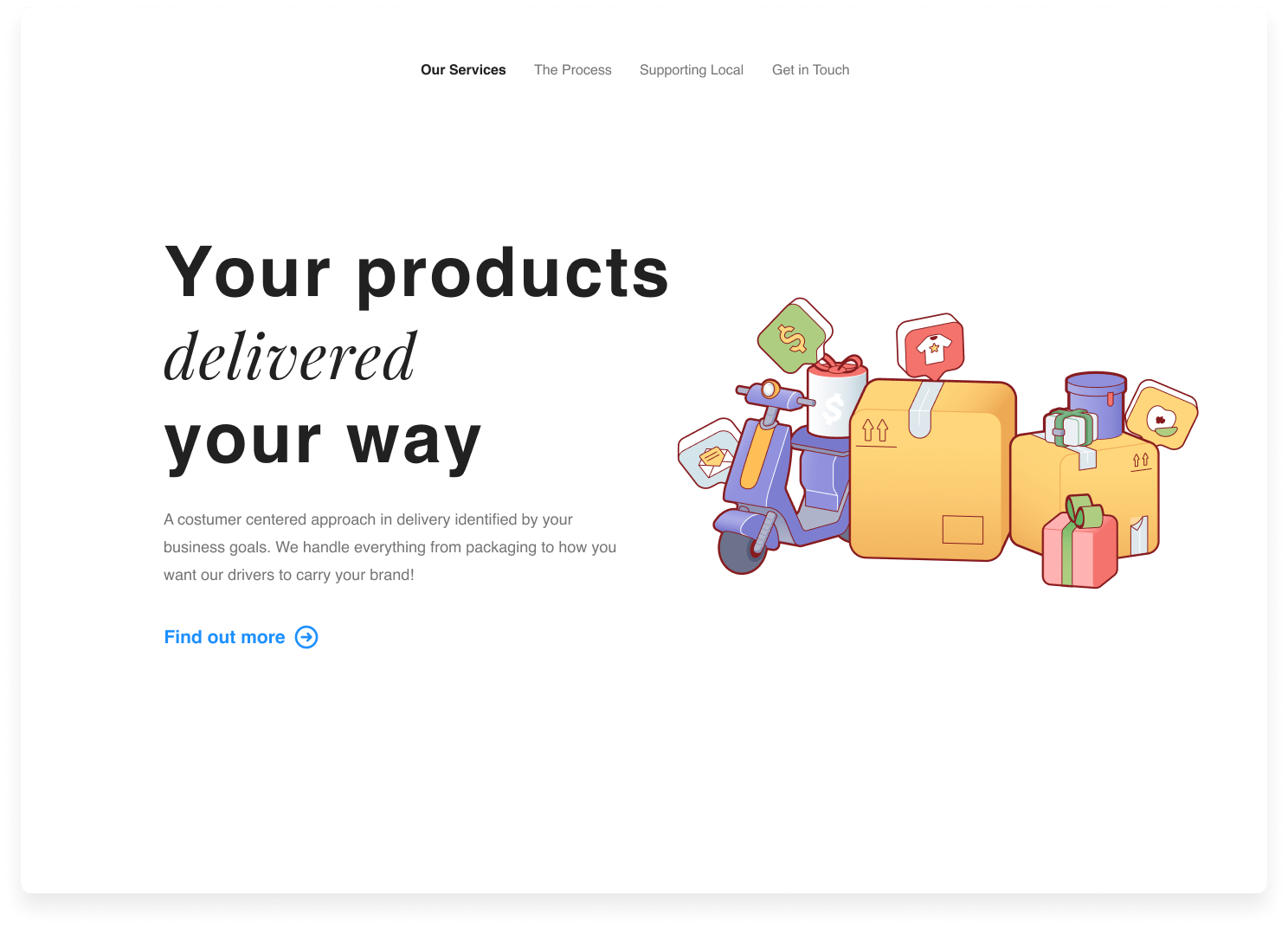 Delivery product page website landing page