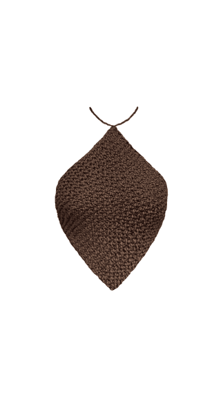'Knitted Halterneck Top' in 'Chocolate'