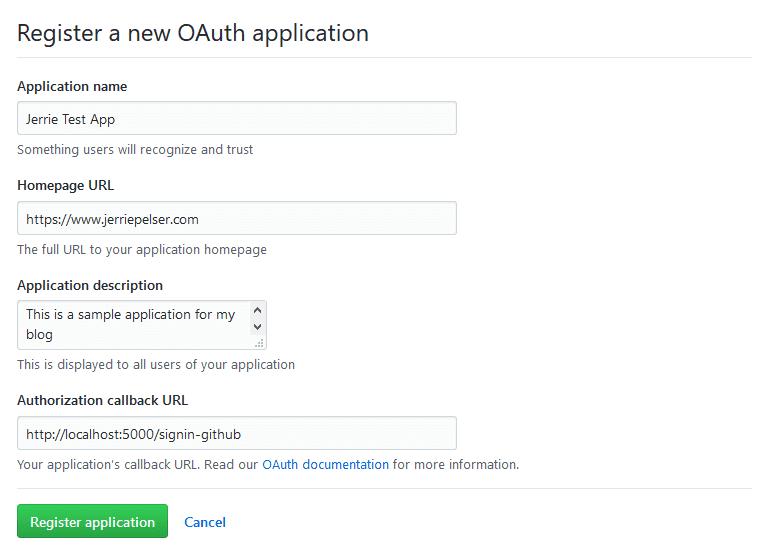 Register new OAuth application