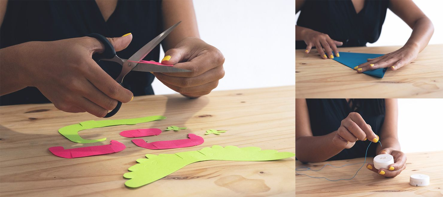 a collage of three images in which a woman is cutting pink and green cardstock into shapes, folding a piece of blue paper, and threading a hole in a white plastic cap