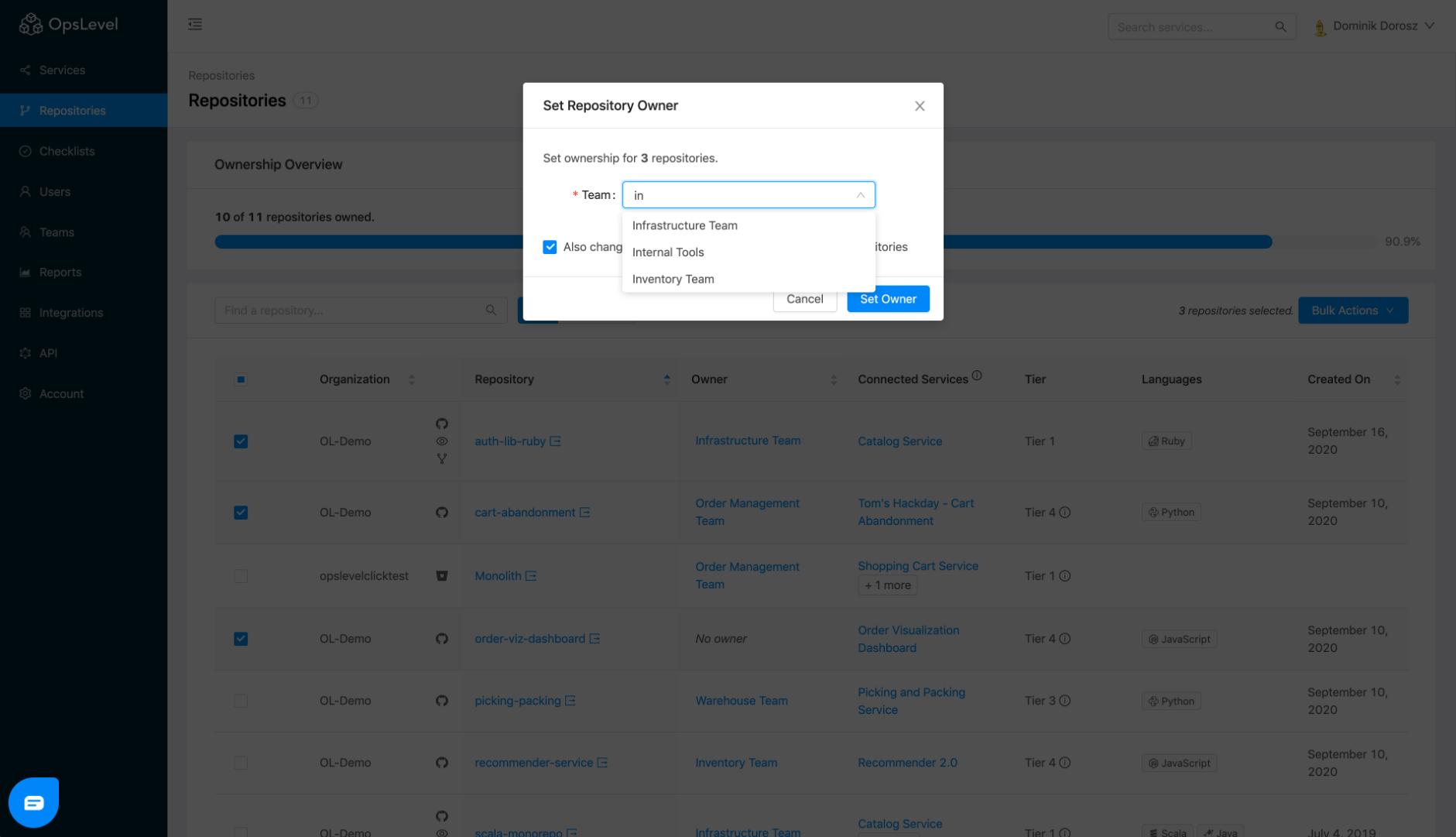Repositories Bulk Modal Typeahead