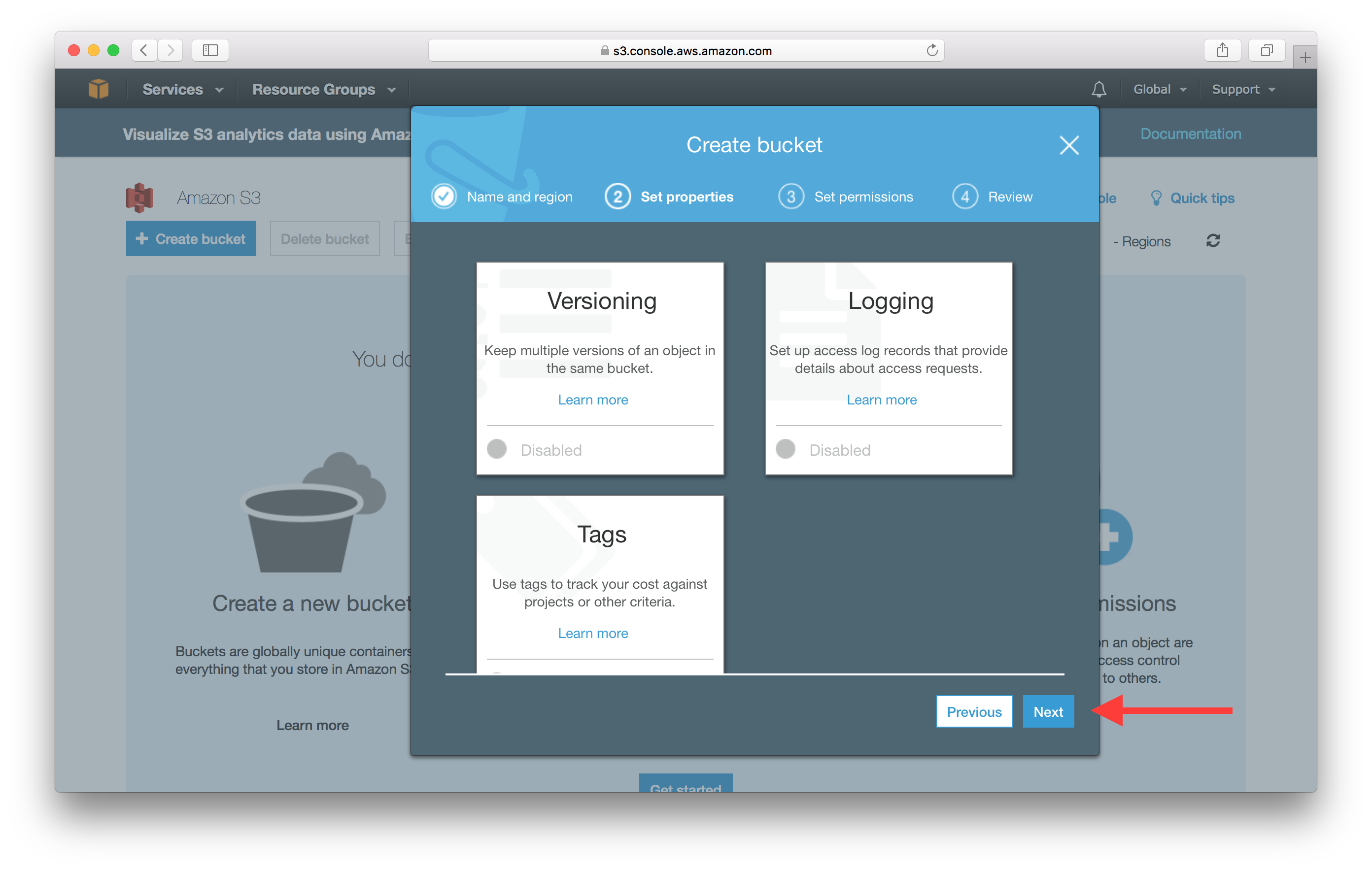 Create S3 static website Bucket next properties screenshot