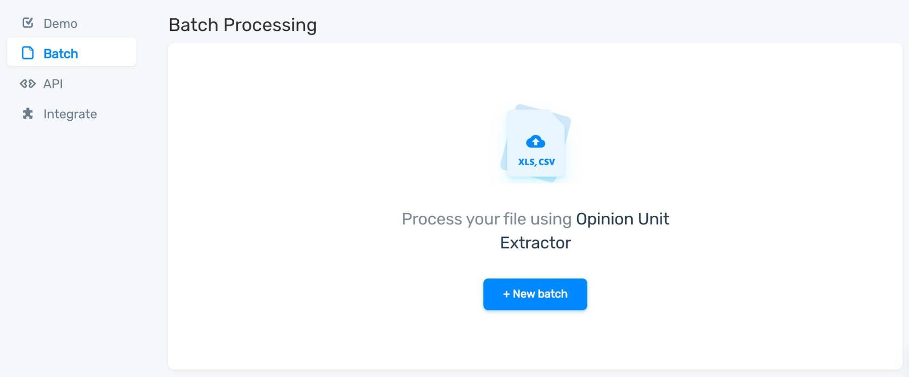 The option to upload a CSV or Excel file for opinion unit batch extraction.