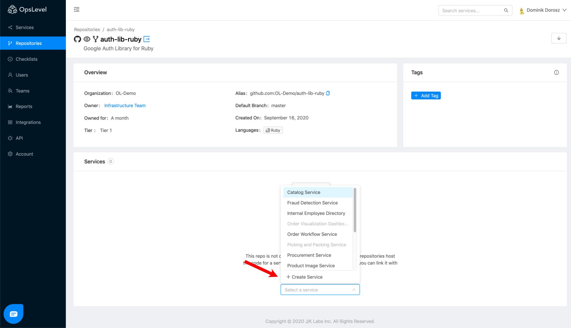Repository Service Create