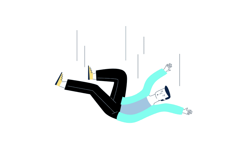 Illustration of a falling person. You should catch your users before they fall.