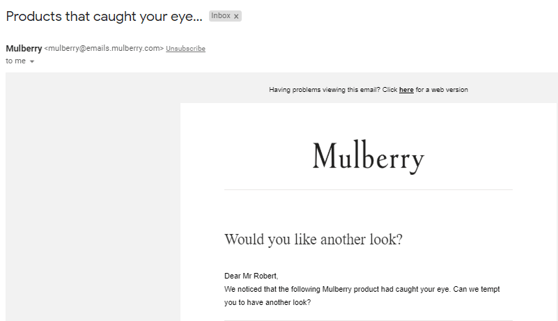 Mullberry subject lines