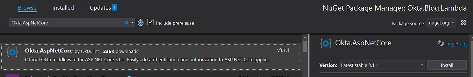 VS install Okta nuget package