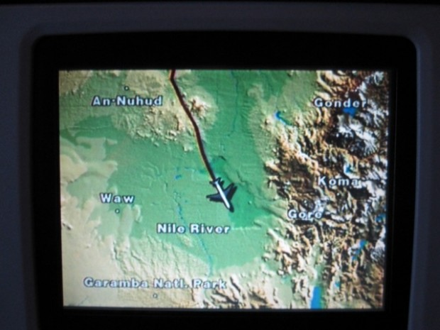 """The map on the seat-back screen. I realized that I was flying over places i had never heard of before..."""