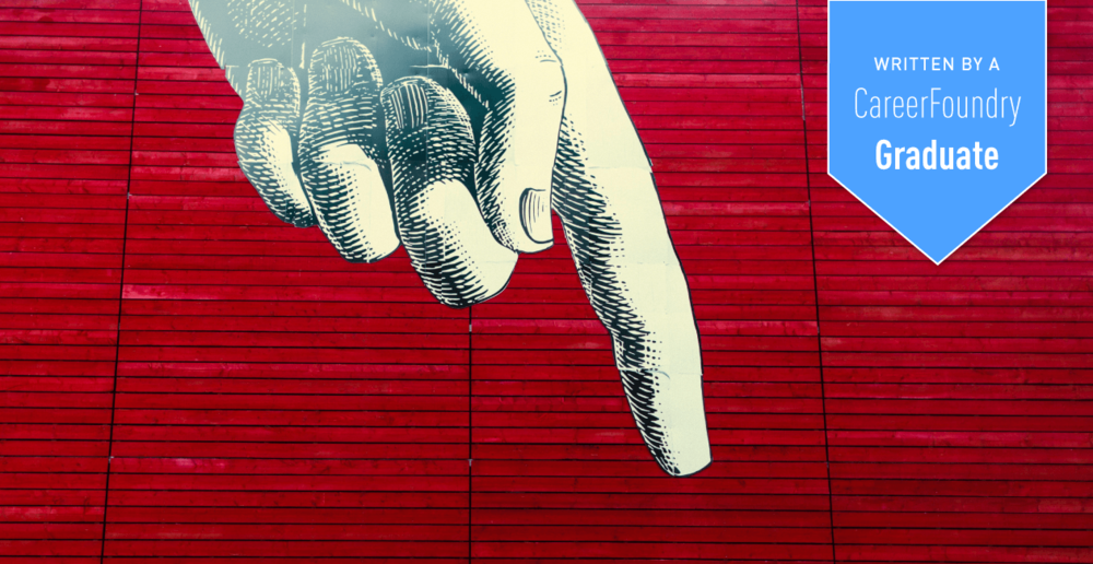 Illustration of a hand pointing down in front of a red background