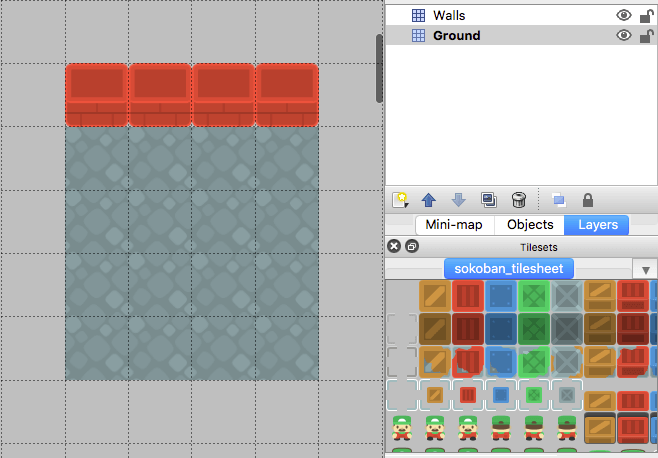 Tiled map editor with a 4x4 grid of ground tiles and a 4x1 row of wall tiles above the first row of ground tiles