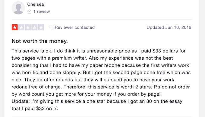 nagative paperfellows.com review on trustpilot.com
