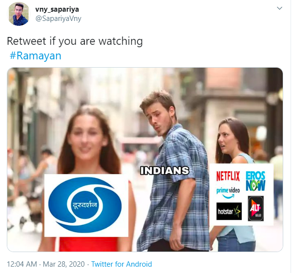 Distracted Boyfriend Doordarshan vs. Netflix