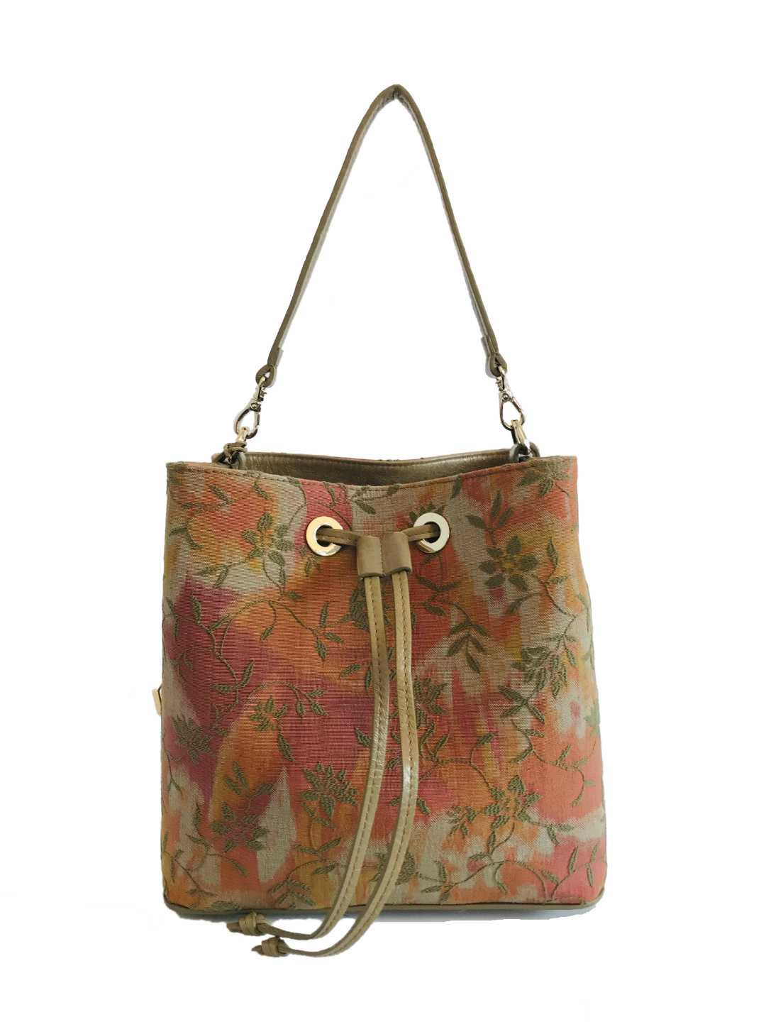 Alya Bucket Small Textile - olive, patterned