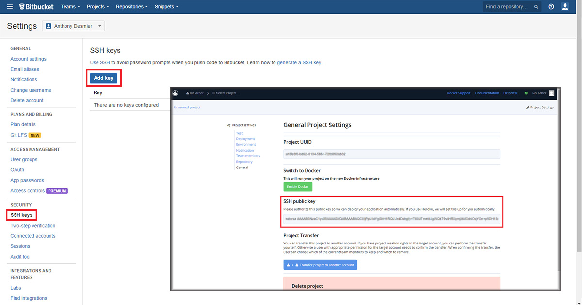 bitbucket create new ssh key