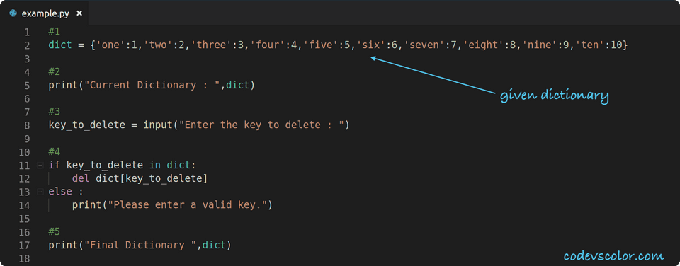 python delete key from dictionary