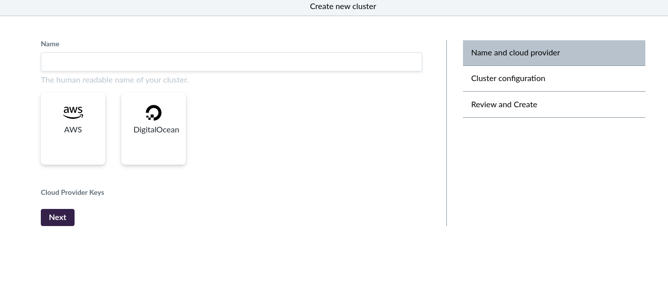 Cluster creation page