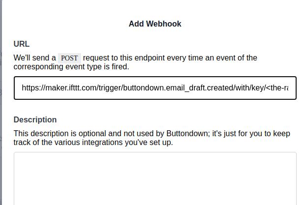 buttondown.email add webhooks