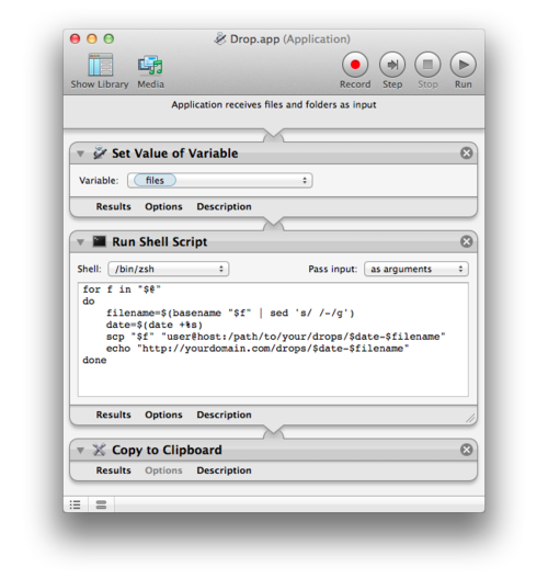 Automator application for simple file dropping