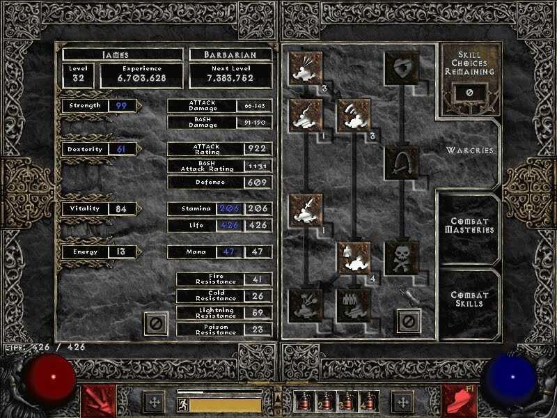 The Diablo 2 skill tree