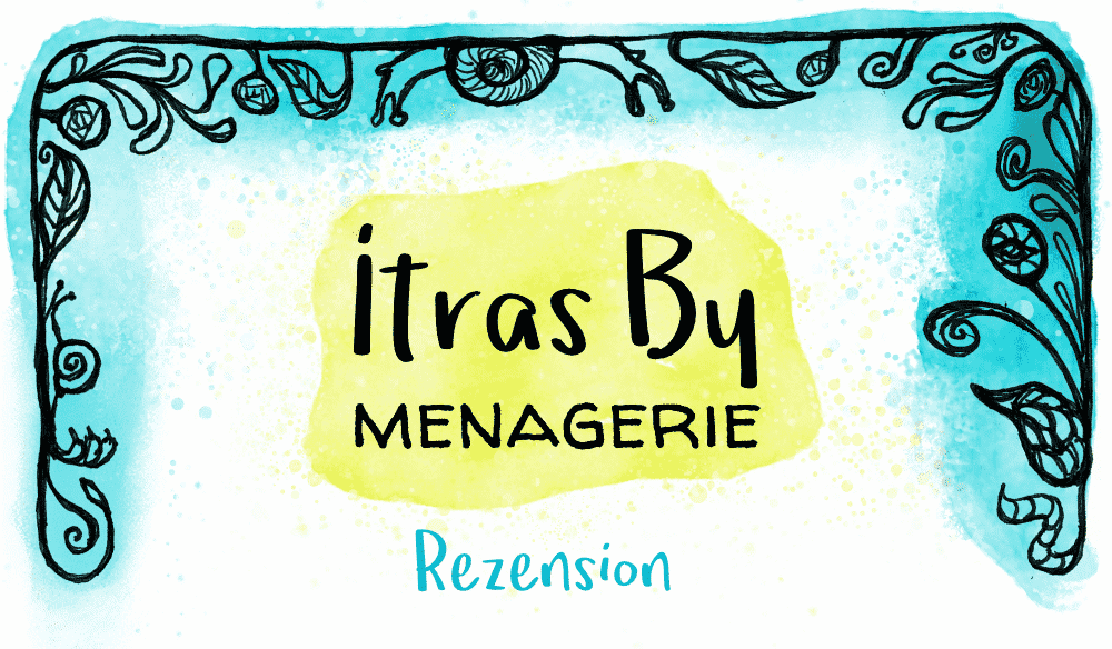 Cover image for the Itras By Menagerie review, with a decorative hand-drawn frame and watercolor effects plus a title in the center