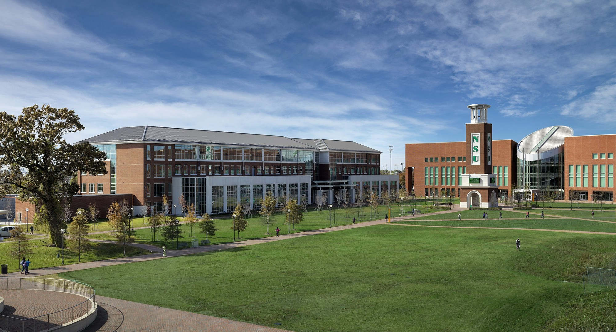 View of the Norfolk State University campus on a sunny day