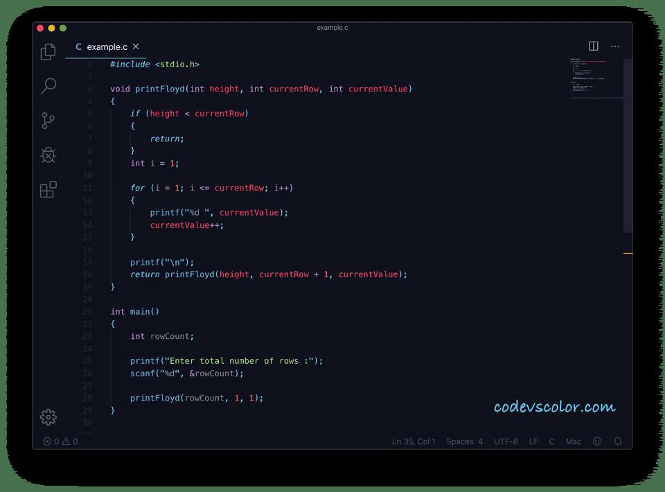 floyd triangle C recursive program