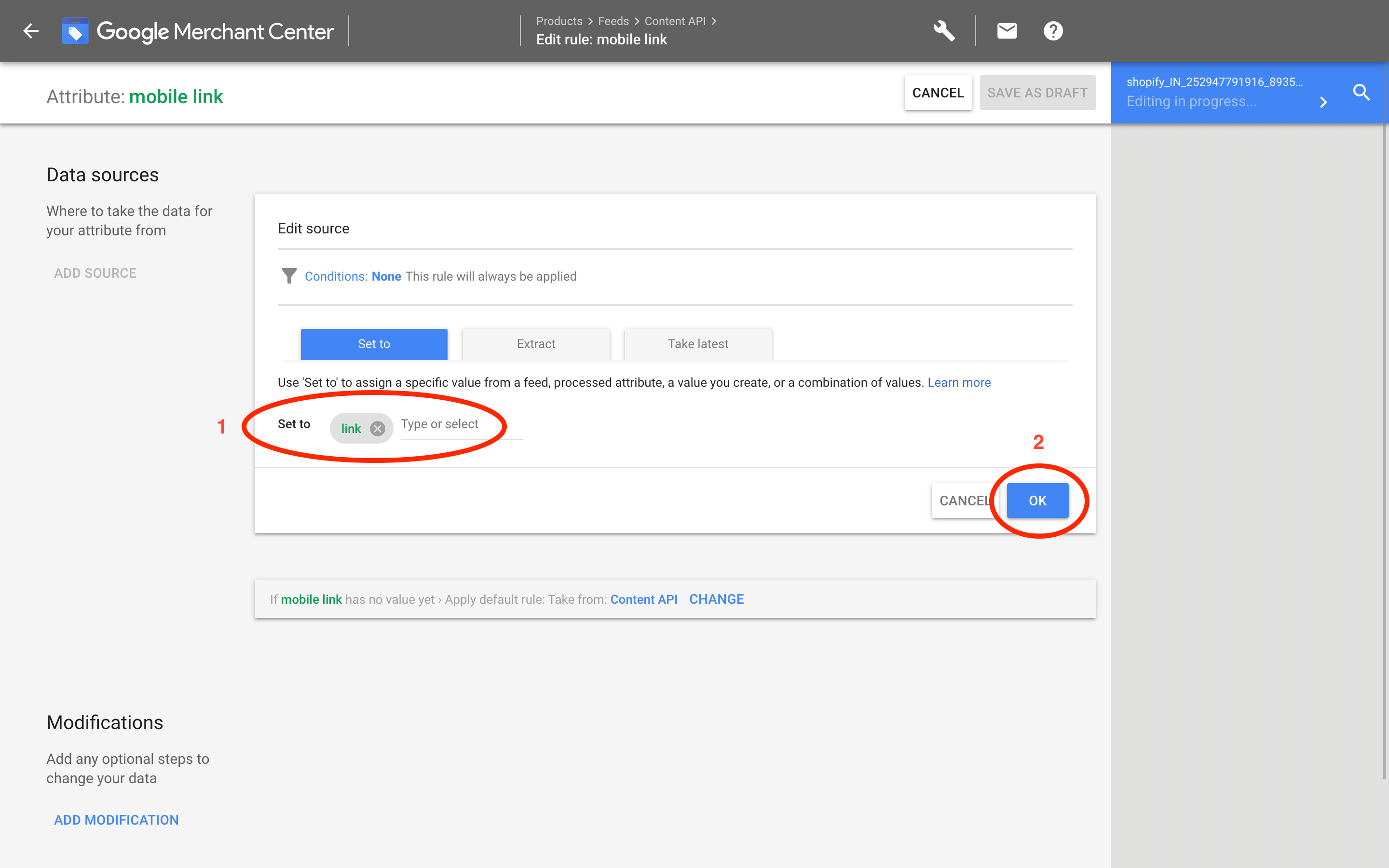 Google Merchants: Set source link
