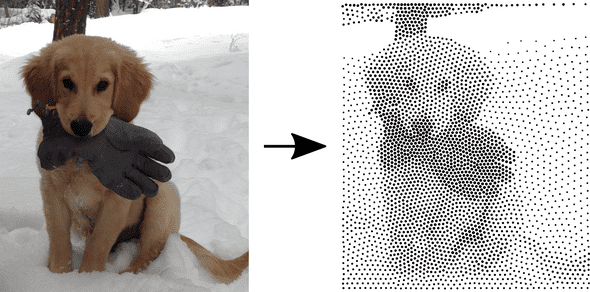Raster image of puppy converted to stipple svg image