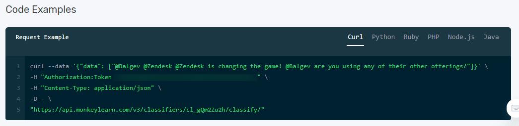MonkeyLearn's API