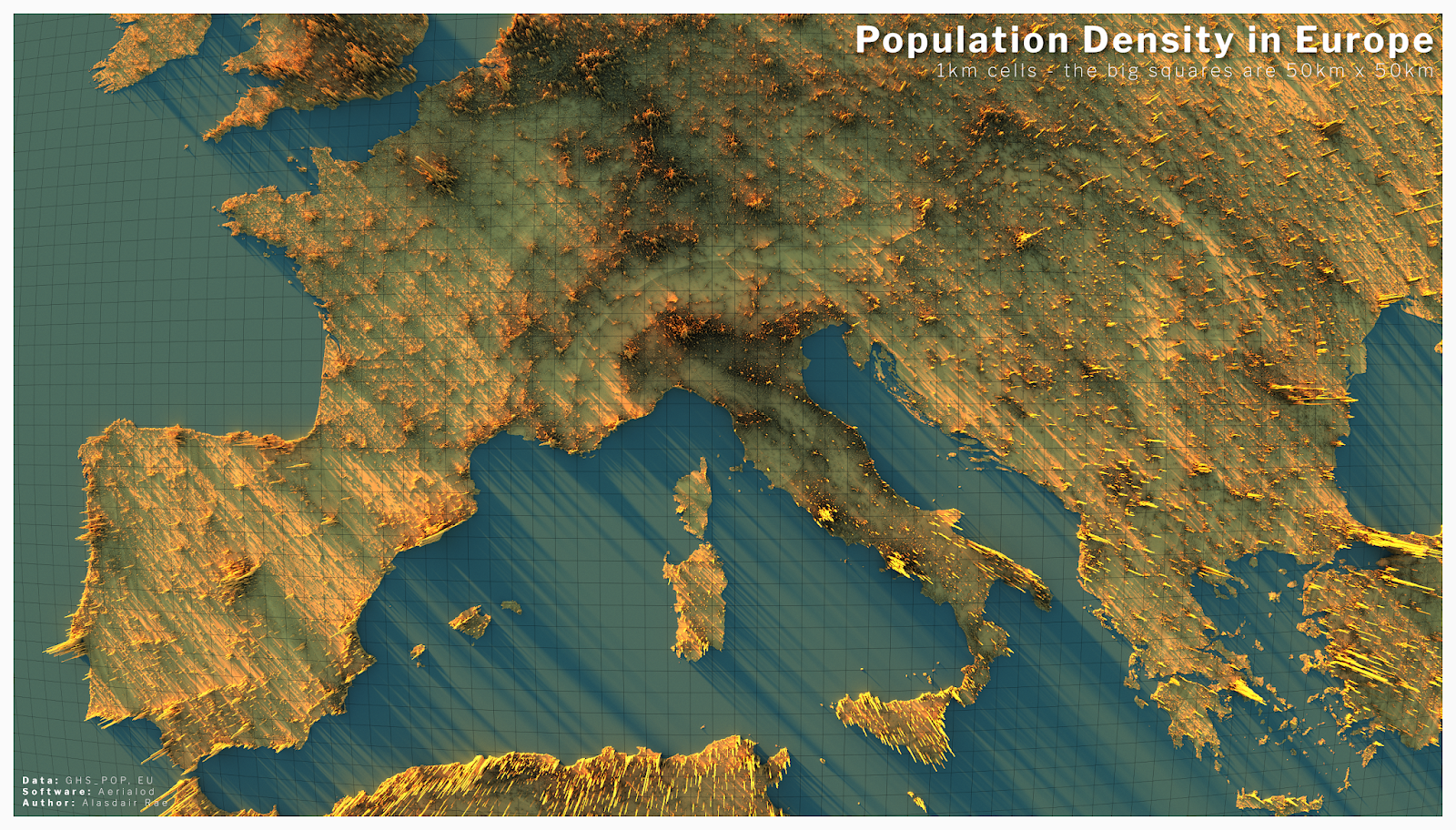 3D map showing population density across Europe