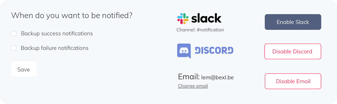 SimpleBackups slack and discord notifications for backup