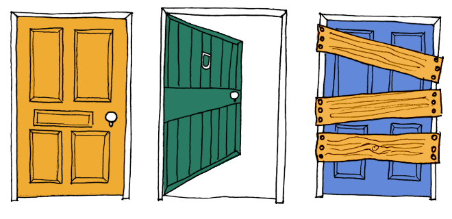 The left door is closed, the middle door is open and the right door is boarded up. Content on the Internet should be accessible for everyone.