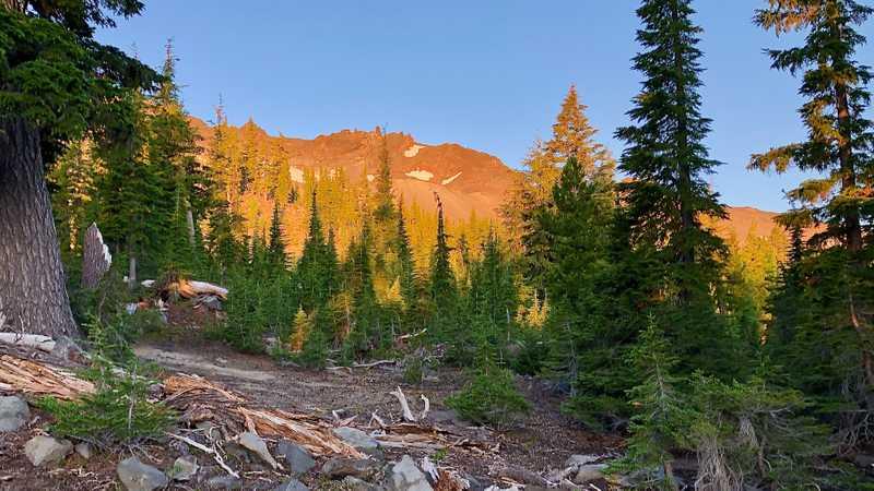 Morning sun on Diamond Peak
