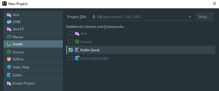 Creating a Gradle project including Kotlin