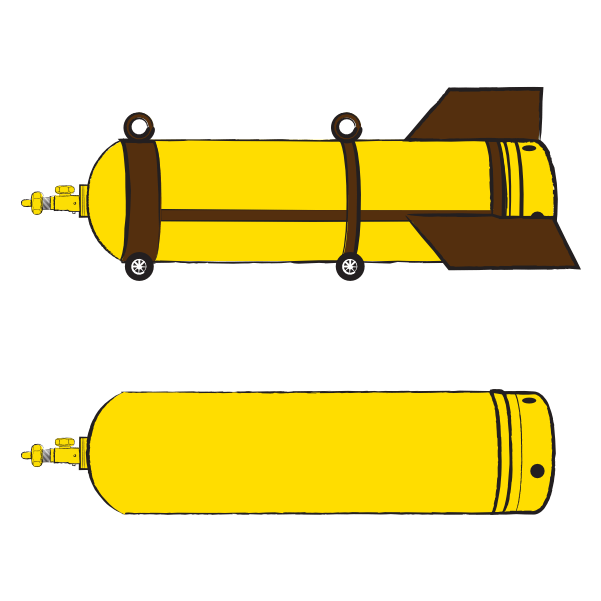 Image shows two illustrations of barrel bombs stacked vertically and a zoomed-in depiction of the bomb's fuse structure below the two illustrations in the bottom right. The bottom illustration shows the simple body of the bomb depicted in yellow and the top illustration shows the bomb's body inside of a brown steel cradle with attached tail fins, wheels and carrying lugs. The illustration was commissioned by GPPi and created by Judith Carnaby.