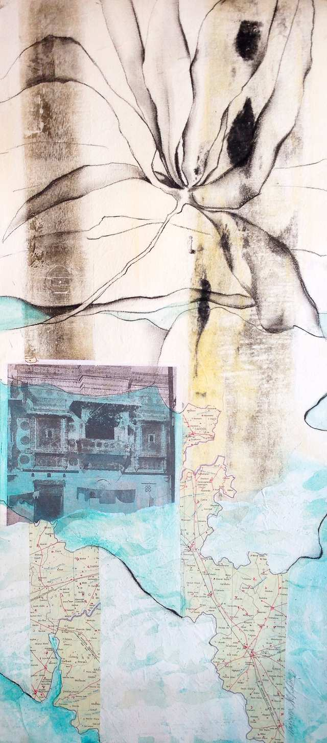 Gunung Anggrek, mixed media collage on canvas framed glass