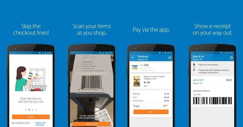 Walmart Scan & Go in use.